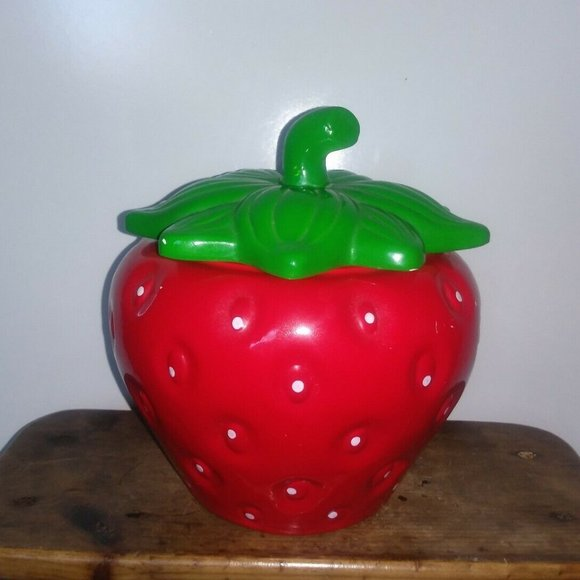 "VTG Ceramic Strawberry Canister Cookie Jar 9"""